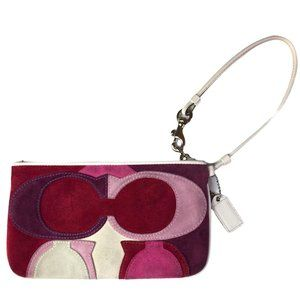 Coach Clutch Suede Multicolor Pink & White Leather